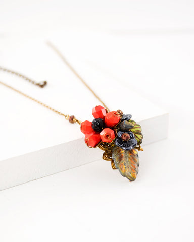 Vintage inspired Orange floral necklace