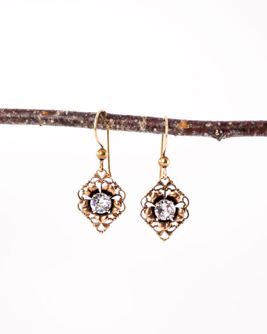 Vintage inspired filigree floral earrings with Swarovski crystals