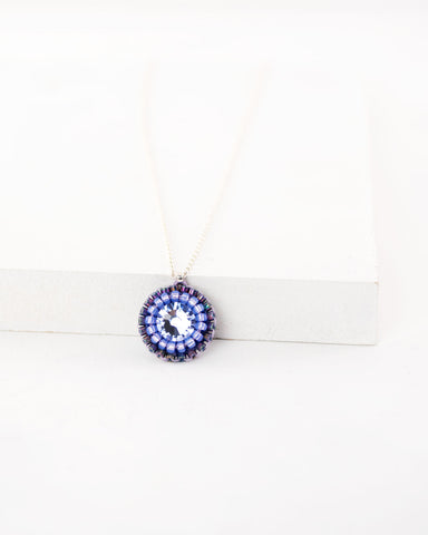 Purple dainty necklace | lavender hand-beaded pendant