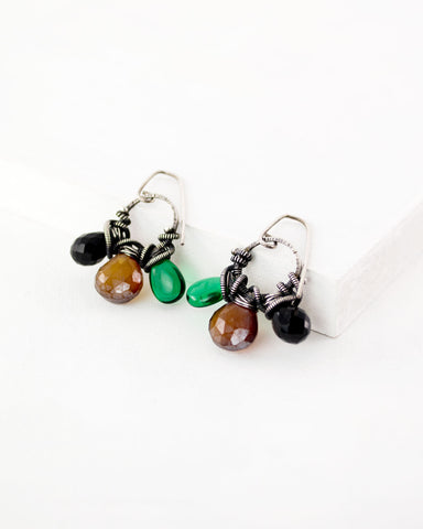 Exquistry silver gemstone handmade earrings