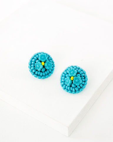 Hand beaded turquoise flower earrings | vintage style big studs