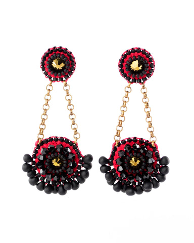 black red gold earrings