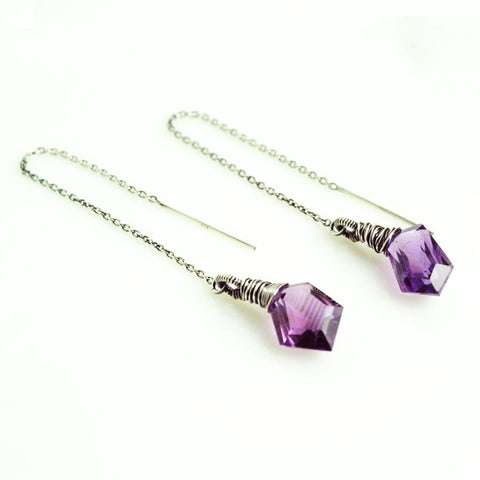 Amethyst threader earrings | Silver thread earrings | Purple earrings