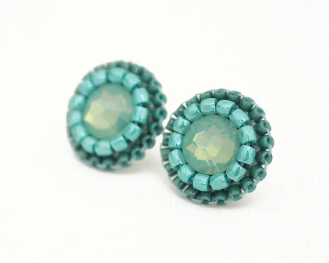 Teal aqua turquoise stud earrings - Exquistry - 1