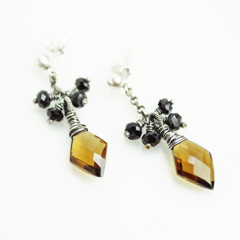 Brown, black earrings | Silver dangle earrings