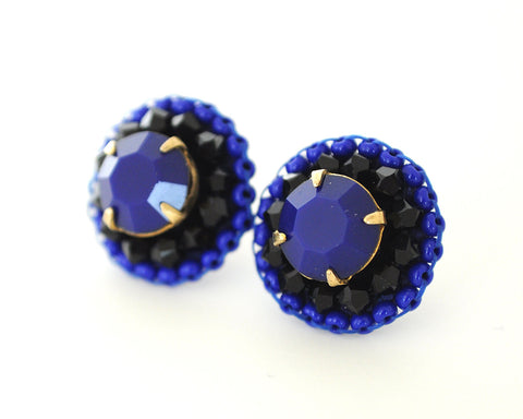 Black blue stud earrings - Exquistry - 1