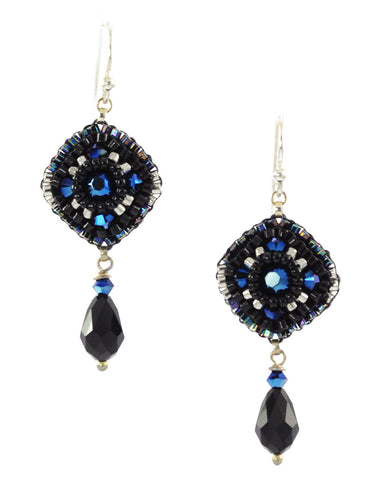 Black, blue dangle earrings - Exquistry - 1