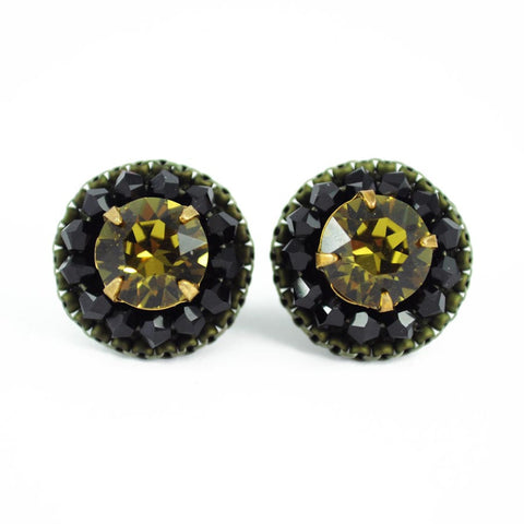 Olive earrings | Black fall earrings | Stud earrings