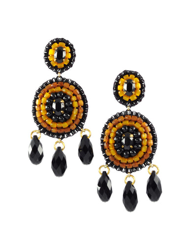 Black mustard yellow statement earrings - Exquistry - 1