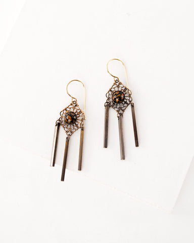 Delicate antique filigree dangles | orange black earrings