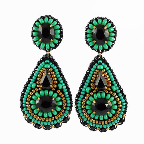 Black statement earrings | Green earrings | Gold earrings