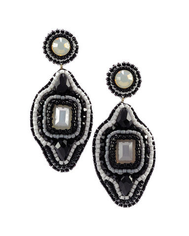 Black gray statement dangle earrings - Exquistry - 1