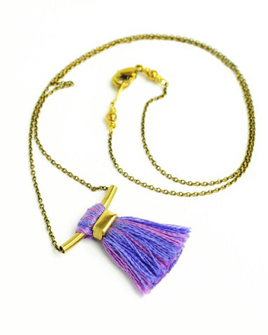 Blue pink tassel necklace | Boho lavender gold brass necklace