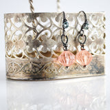 Silver blush peach and blue drop earrings - Exquistry - 2