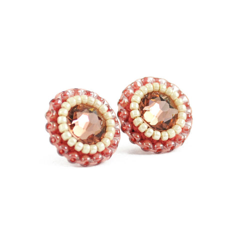 Blush pink, ivory stud earrings