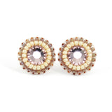 Blush and ivory stud earrings - Exquistry - 1