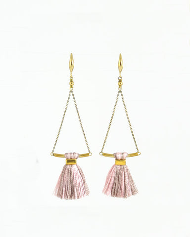 Blush beige earrings | tassel earrings | gold brass earrings