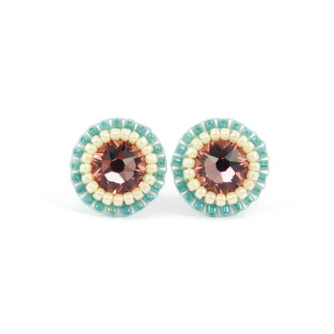 Blush pink, teal, ivory stud earrings - Exquistry - 1