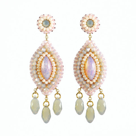 Blush ivory long dangle earrings - Exquistry - 1