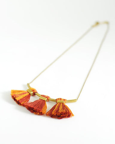 Tassel necklace | Rust orange yellow brass necklace