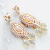 Blush ivory long dangle earrings - Exquistry - 3