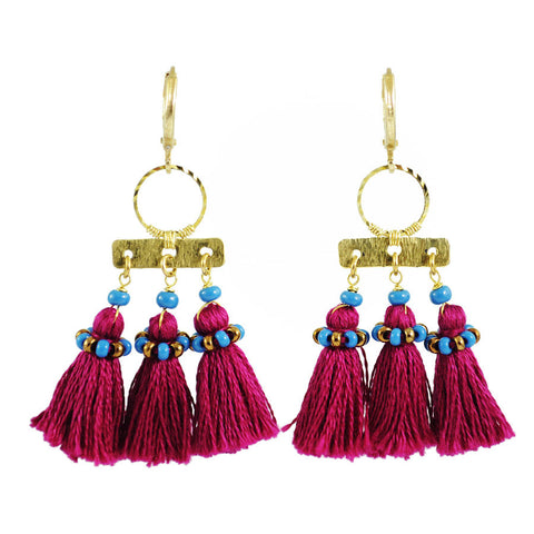 Burgundy tassel earrings | maroon gold tribal earrings | fringe earrings