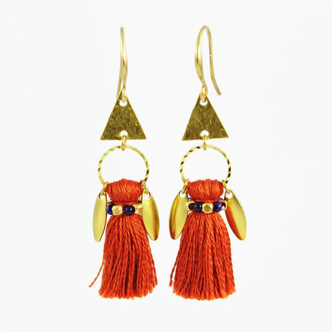 Burnt orange earrings | tassel earrings | gold brass earrings