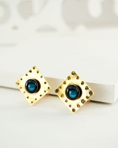 Square vintage style brass clip on earrings with blue stone