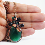 Emerald green, black, copper necklace - Exquistry - 3
