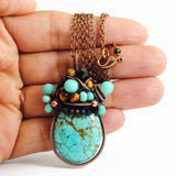 Turquoise, black, copper necklace - Exquistry - 2
