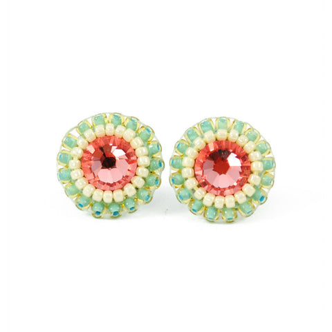 Pink mint stud earrings - Exquistry - 1