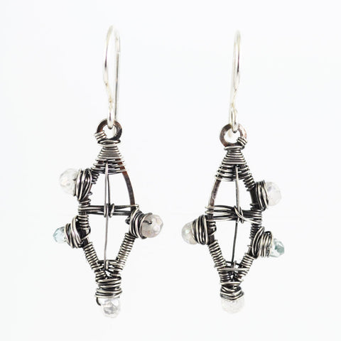 Silver and crystal minimalist dangle earrings