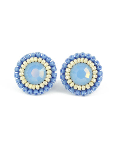Dusty blue ivory tiny stud earrings - Exquistry - 1