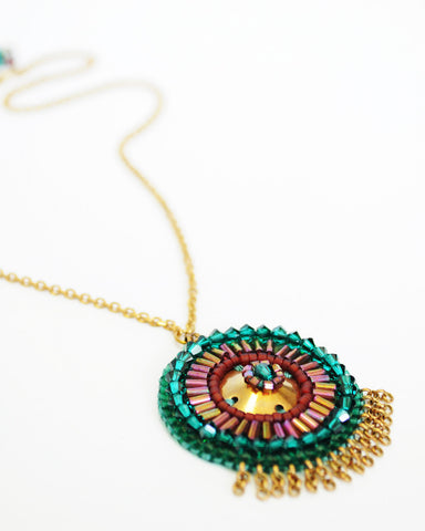 Gold emerald burgundy tribal pendant necklace - Exquistry - 1