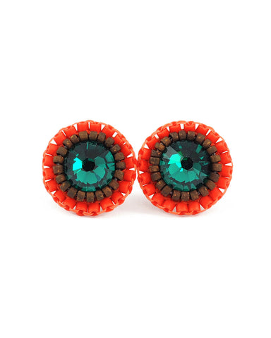 Emerald and orange stud earrings - Exquistry - 1