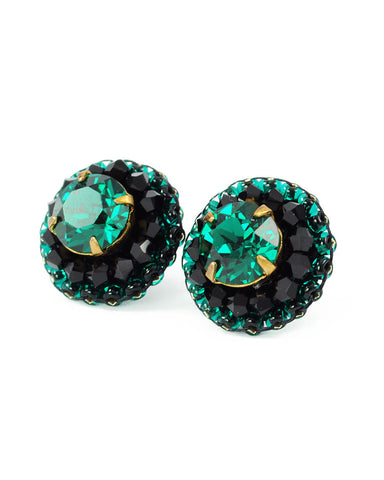 Emerald green  black stud earrings - Exquistry - 1