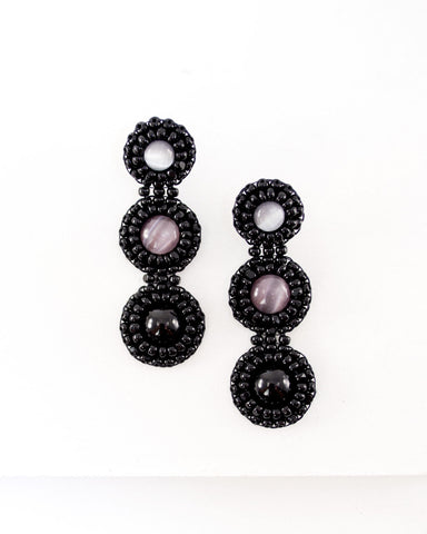 Long black stud statement earrings | hand beaded earrings