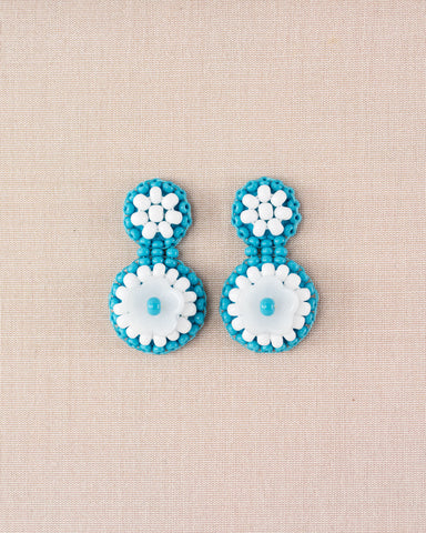 Vintage style turquoise and white statement stud earrings