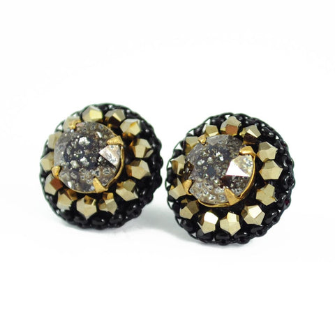 Sparkly black stud earrings, handmade in seattle