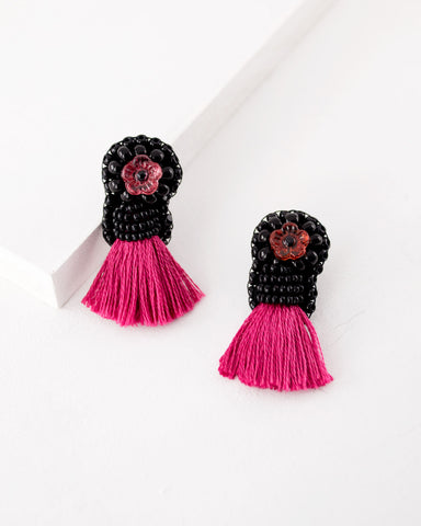 Pink black beaded tassel earrings | flower stud earrings