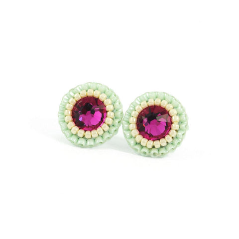 Fuchsia, mint and ivory stud earrings - Exquistry - 1