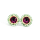 Fuchsia, mint and ivory stud earrings - Exquistry - 2