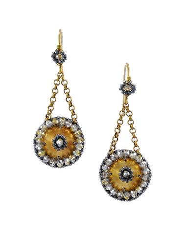 Gold gray dangle earrings with crystals - Exquistry - 1