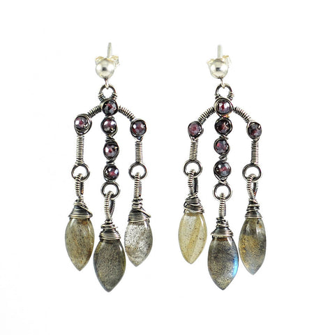 Silver, gray and maroon dangle earrings - amisha rathod - 1