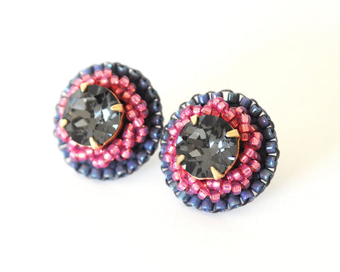 Gray pink stud earrings - Exquistry - 1