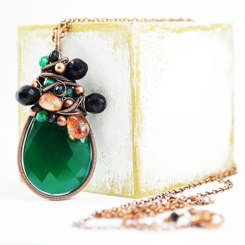 Emerald green, black, copper necklace - Exquistry - 1