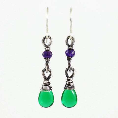 Emerald green and purple silver dangle earrings