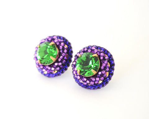Green purple stud earrings - Exquistry - 1