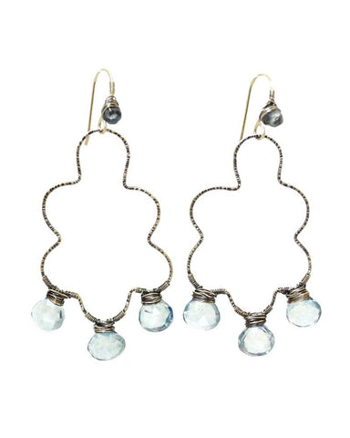 Blue gemstone earrings | Cloud earrings | Silver drop earrings