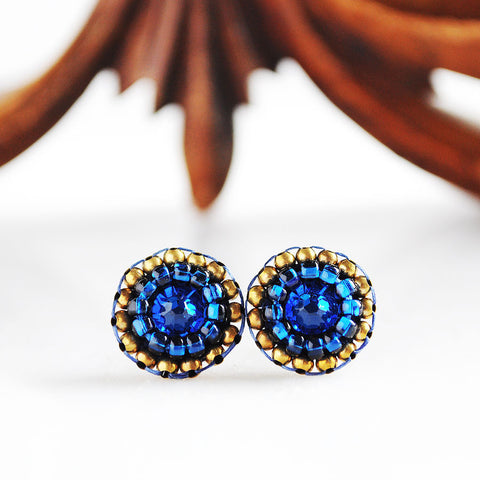 Indigo blue gold tiny stud earrings - Exquistry